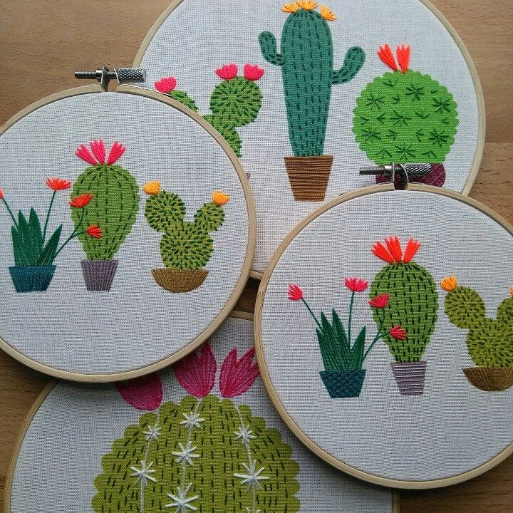 Cactus Embroidery Hoop Art Colourful Contemporary Hand