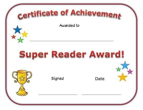 Super Reader Award Certificate Super Reader Reading Certificates Kids Awards Certificates