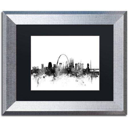 Trademark Fine Art 'St Louis Missouri Skyline B' Canvas Art by Michael Tompsett Black Matte, Silver Frame, Size: 11 x 14