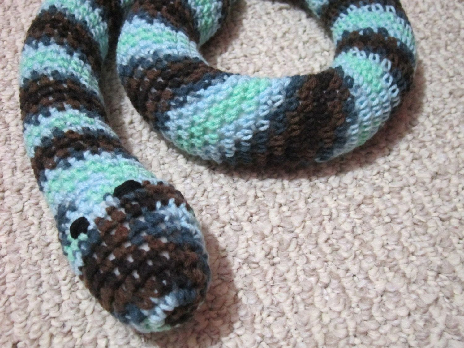 Crochet Snake Toy Door Draft Stopper Blue, Green, Brown and Black ...