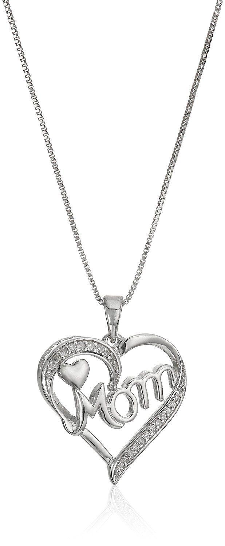 Sterling Silver Diamond Mom Heart Pendant Necklace 1 10cttw J K Color I2 I3 Cla Pink Background Images Black Background Photography Studio Background Images