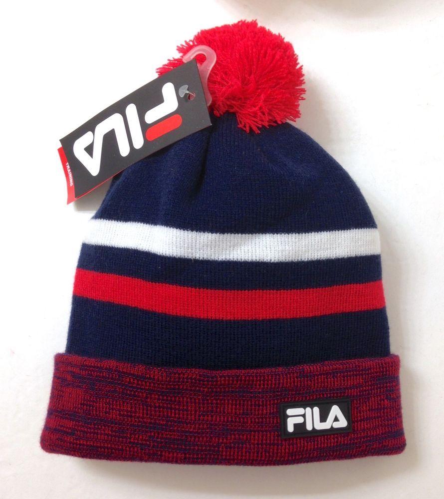 44809012e31 men women FILA POM BEANIE cuffed winter knit ski hat NAVY BLUE white red  striped  FILA  Beanie