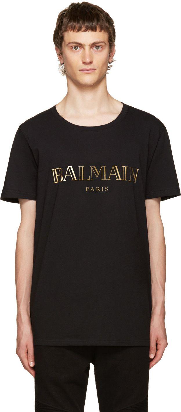 64d8e92d Balmain - Black Logo T-Shirt | summer clothes | Balmain clothing ...