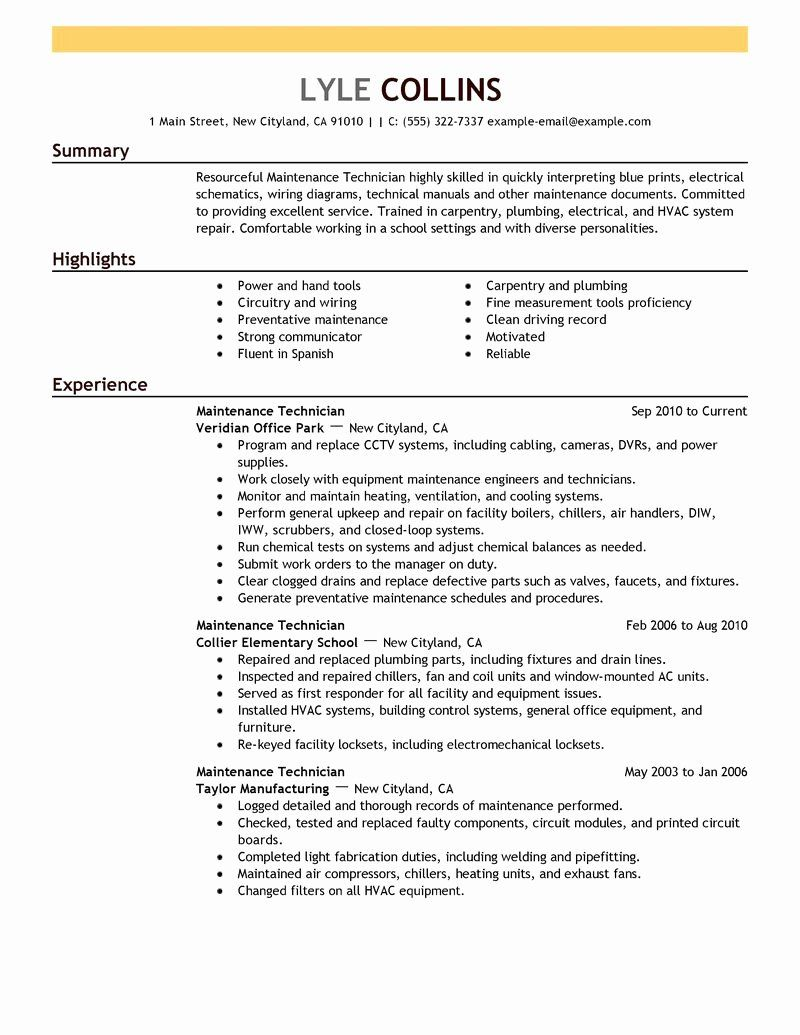 Maintenance Job Description Resume Lovely Maintenance