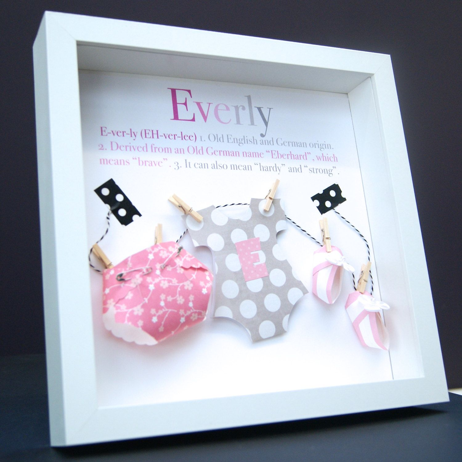 Personalized name and birth info paper onesie diaper and booties personalized name and birth info paper onesie diaper and booties shadowbox frame custom art girl giftsbaby negle Gallery