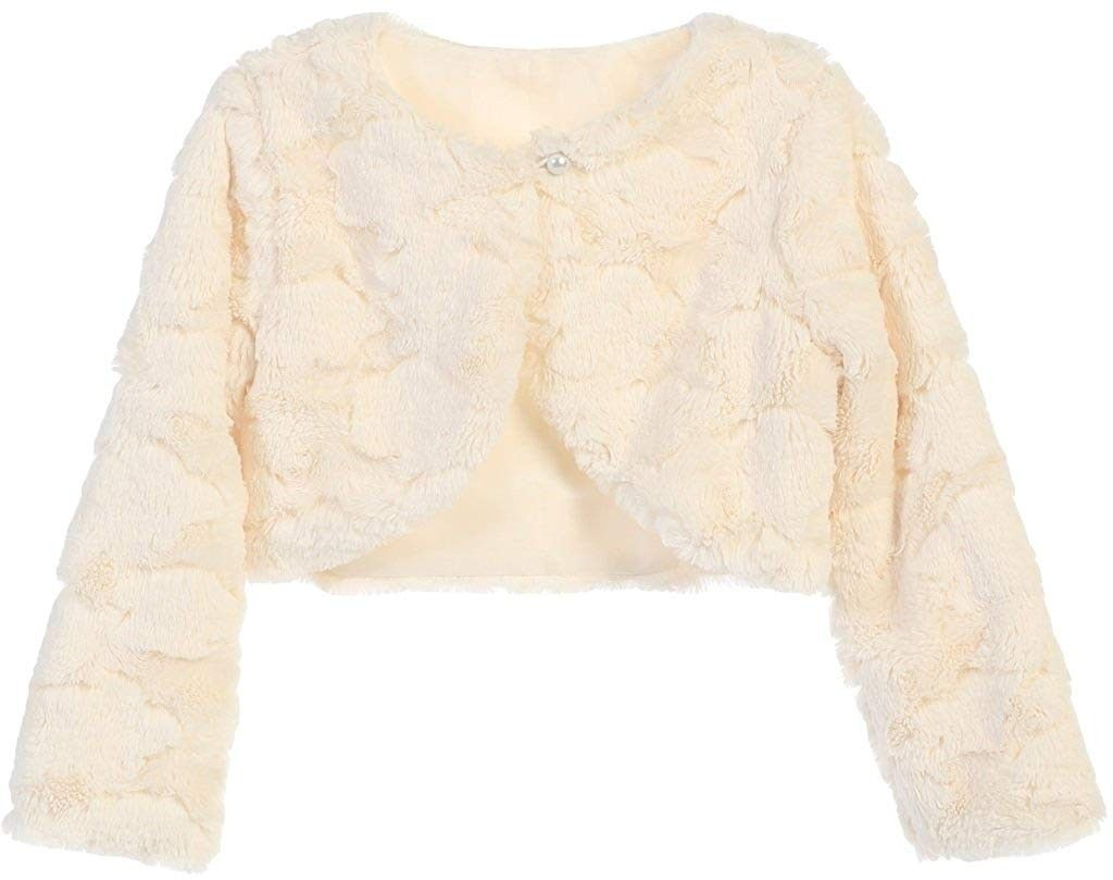 BluNight Collection Little Girls Long Sleeve Flower Girl Special Occasion Cardigan Sweater Bolero