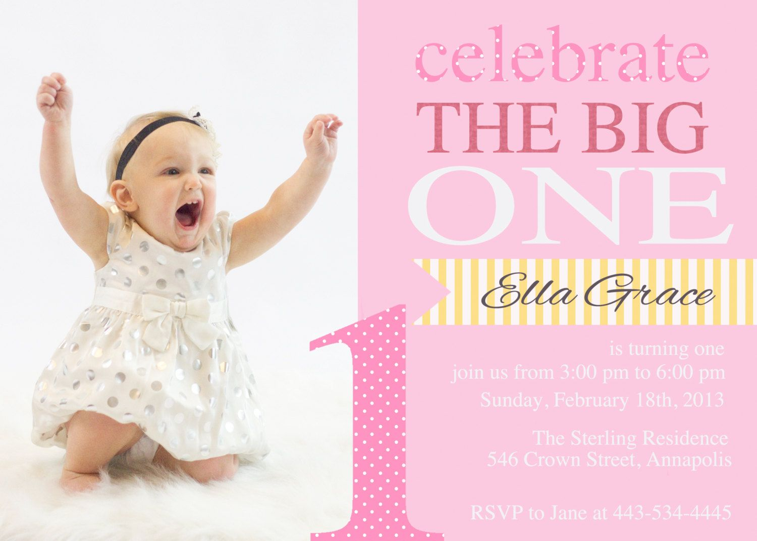 Print Your Own First Birthday Girl Custom Personalized Birthday ...