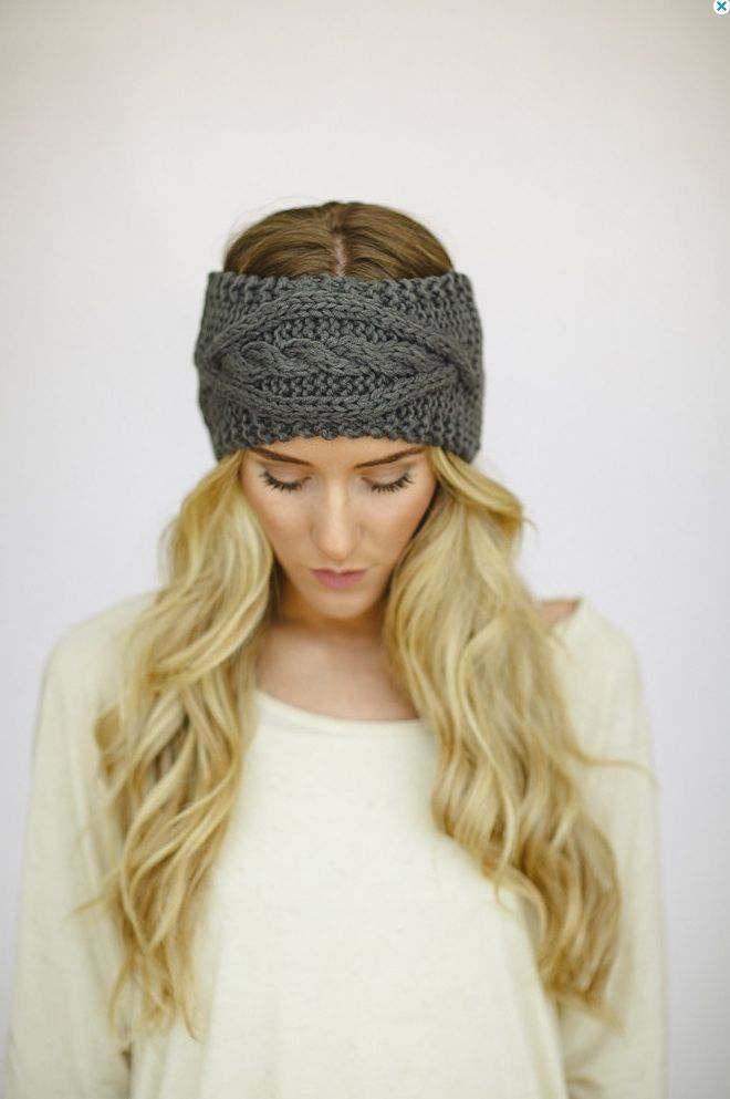Cable Knit Headband Ear Warmer - Gray | Things I Want | Pinterest