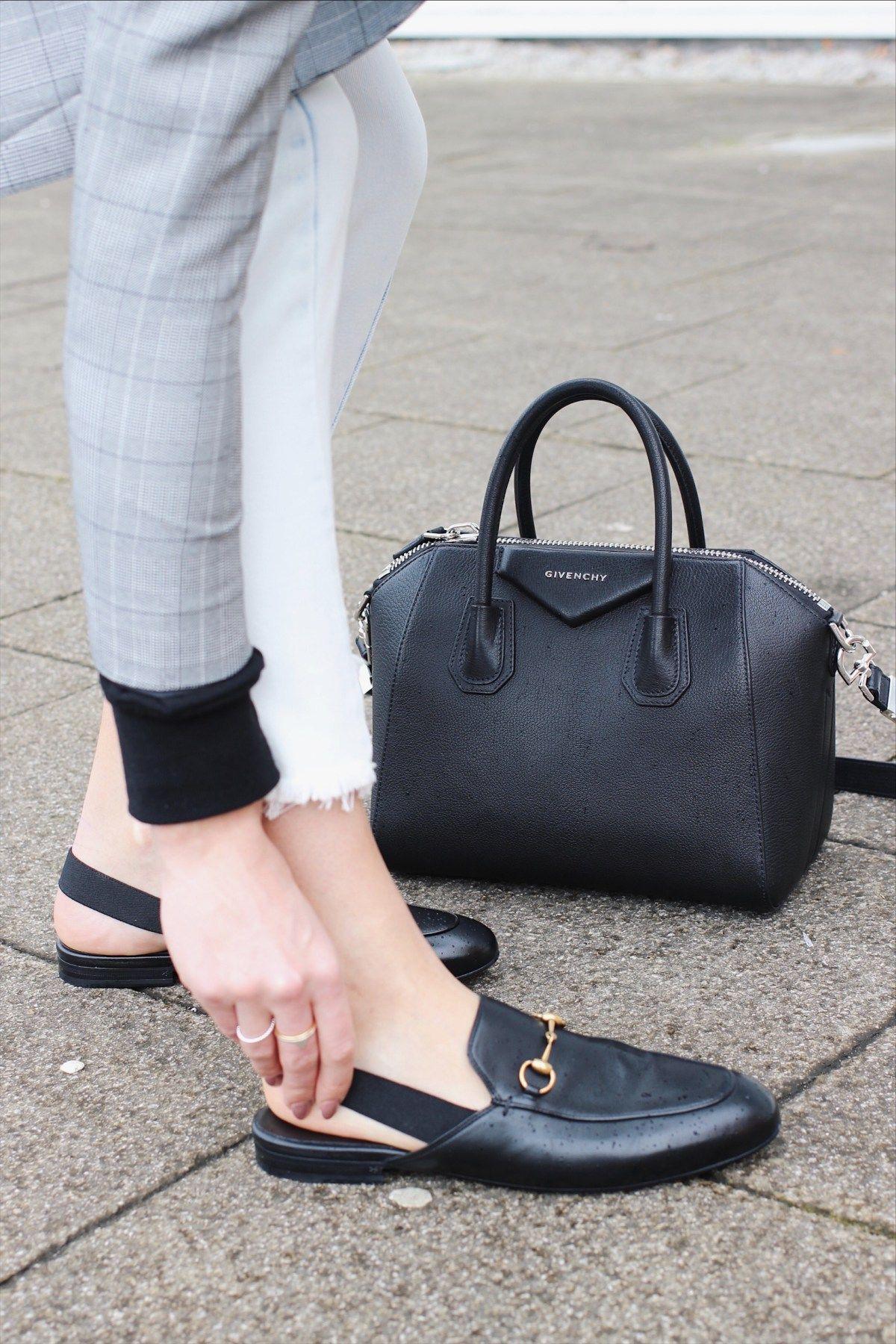 Gucci Slingback Loafers and Givenchy Antigona black street style