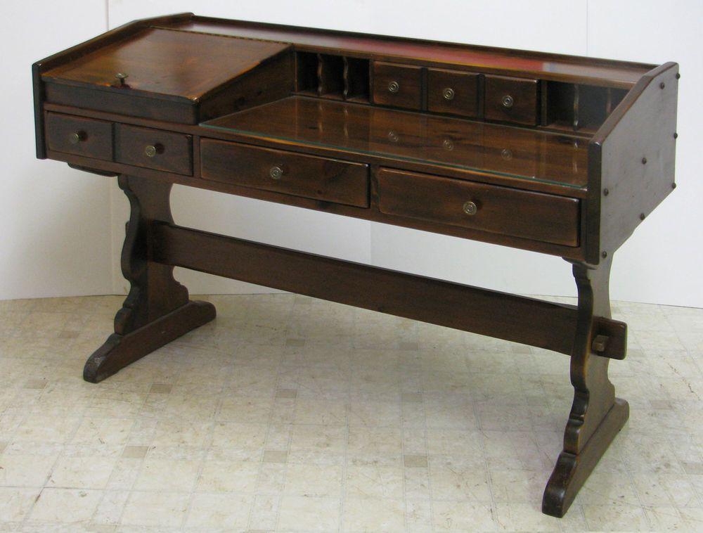 ETHAN ALLEN Antiqued Pine Old Tavern Desk American