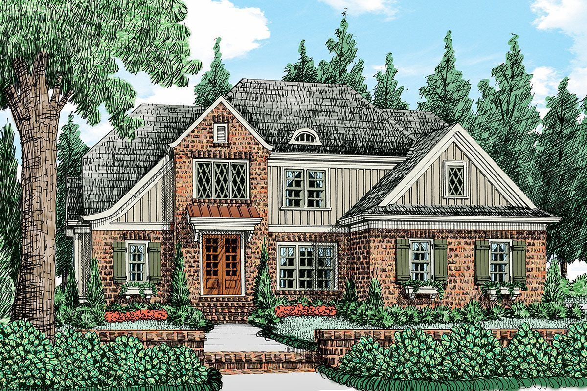 Plan 710094btz 4 Bed House Plan With Tudor Inspiration Boardandbattensiding Brick And Board And Batte Cottage Style House Plans House Plans Tudor Style Homes