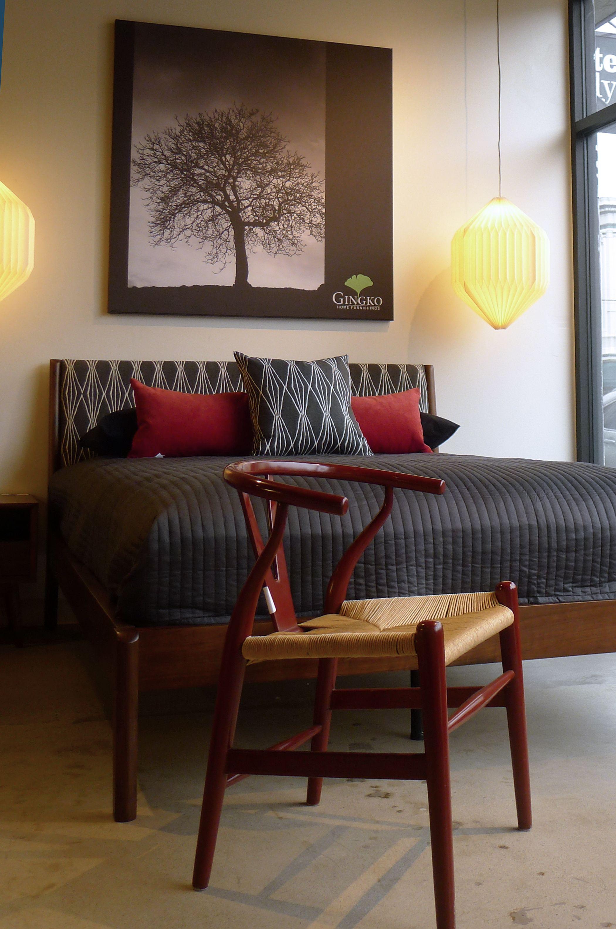 Best Lewis Bed Walnut Frame Upholstered Headboard Queen 400 x 300