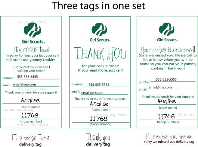 Girl Scout Cookie Door Tags Sorry We Missed You And Thank