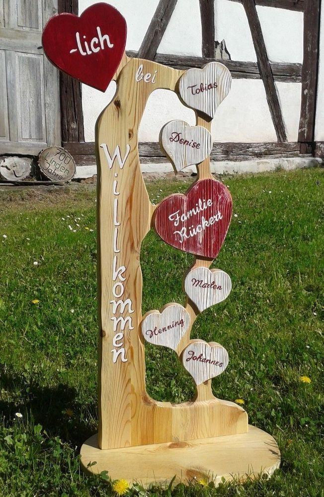 Holz Stele Herzlich Willkommen Familie Herz Holz Namen Geschenk Schild In Mobel Amp Wohnen Dekoration Schilder Amp Holzgeschenke Holz Herz Turschild Holz