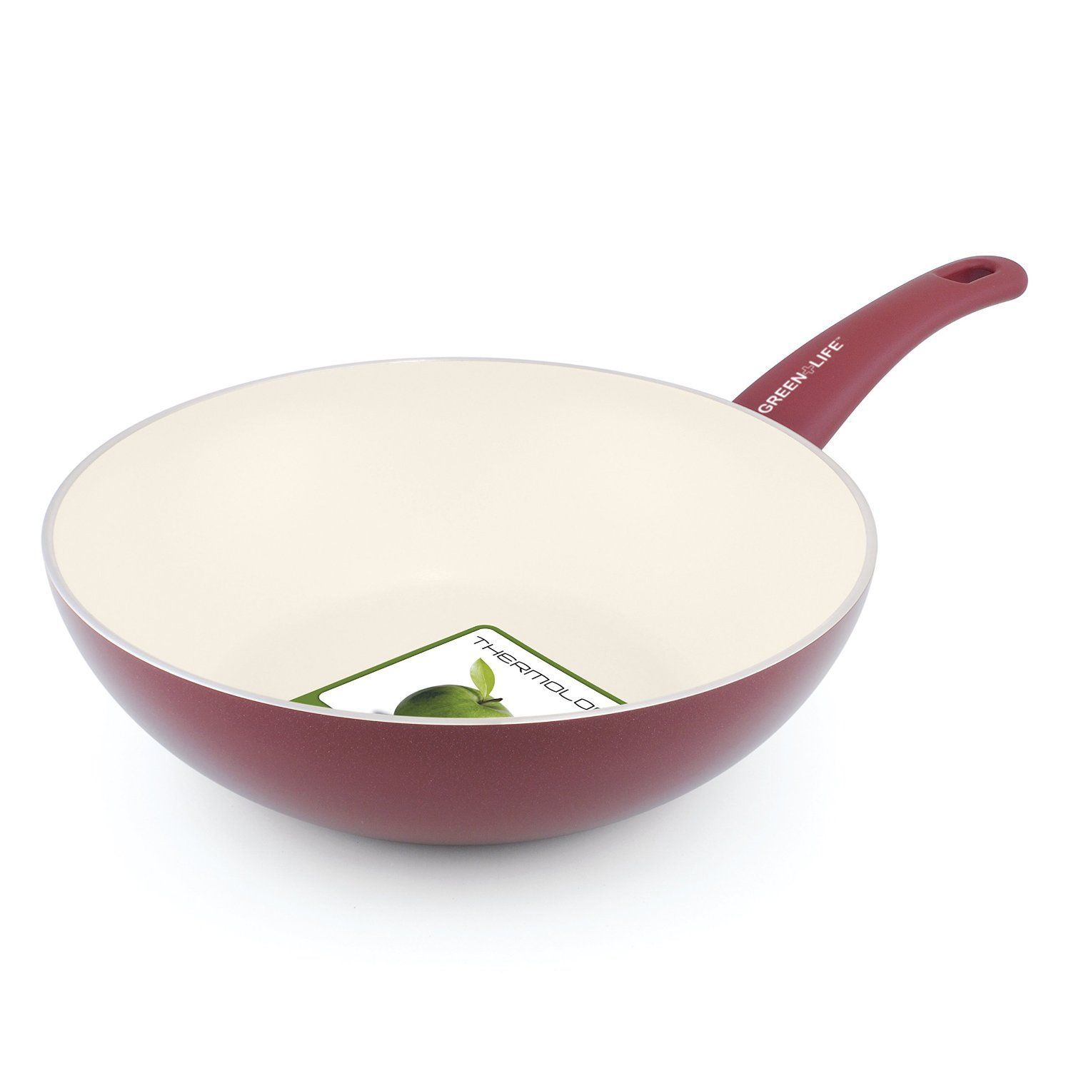 Greenlife 11 Inch Ceramic Non Stick Wok With Soft Grip Red Click Image For More Details Wok