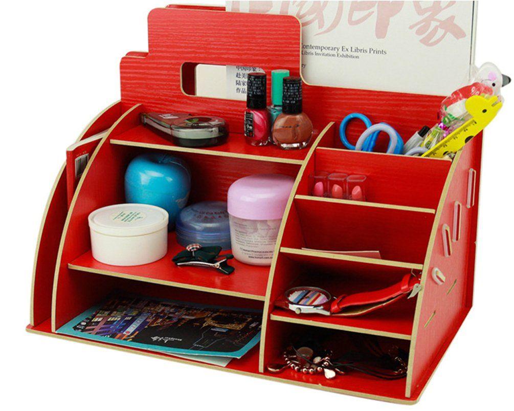 Xiong Guo Creative Office Supplies Storage Box File Pen Pencil Holder Desk Organiser Red