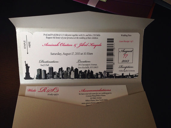 Boarding Pass Save The Date / Invitation. Destination