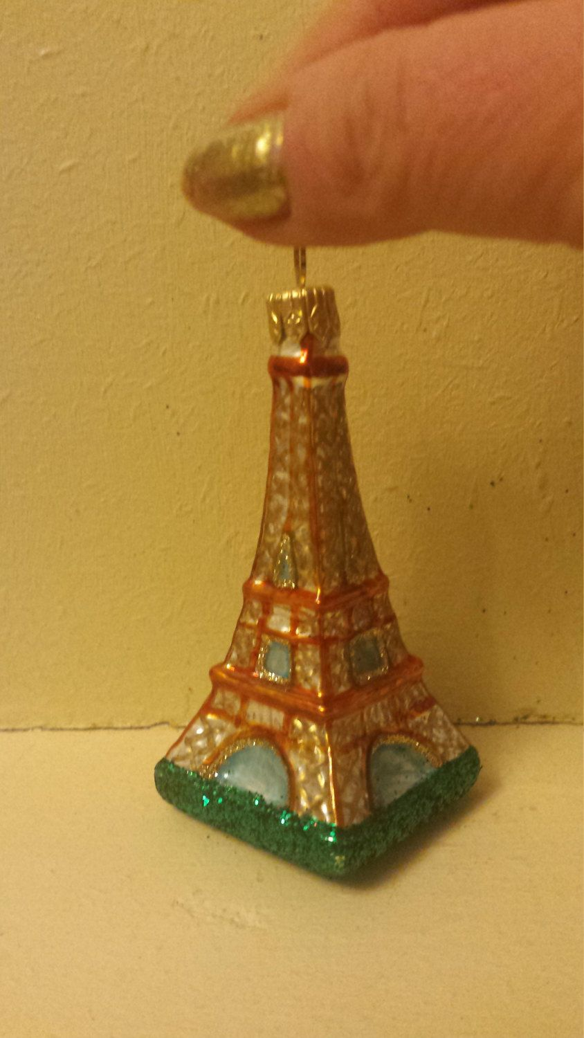 Eiffel tower christmas tree ornament - Blown Glass Paris Landmark Eiffel Tower Christmas Tree Ornament Made In Poland