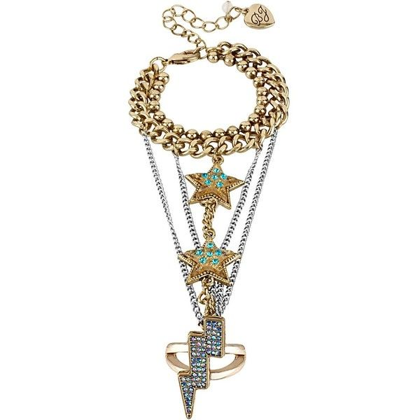 Betsey Johnson Chain Star Bracelet Ring ($95) ❤ liked on Polyvore
