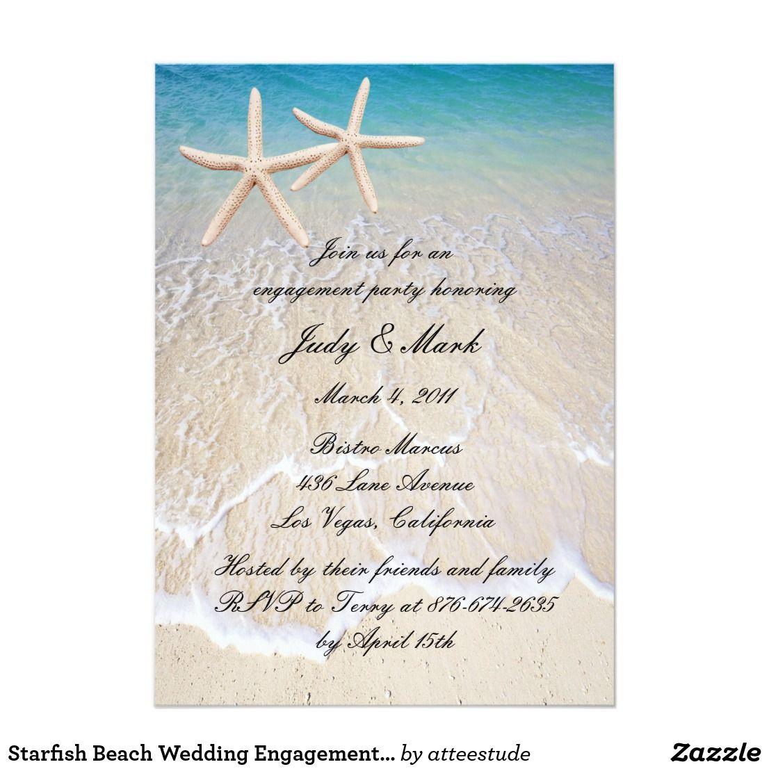 Starfish Beach Wedding Engagement Party Invitation | Vintage Wedding ...