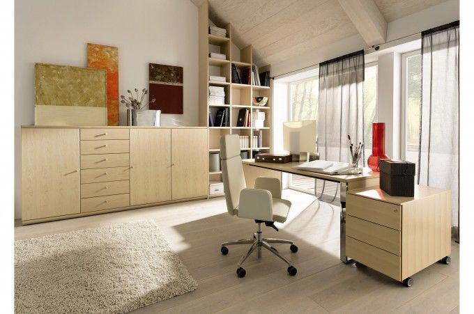 Stunning Officedesigns With White Rug And Sloped Ceiling Also Bookshelving For Modern Home Office Design Ideas