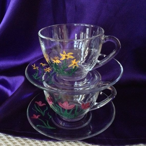 Arcoroc France Teacups Saucers Hand Painted Clear Glass Set Of Two Black Eyed Susan 39 S Tulips Tea Cups Glass Tea Cups Tea Cup Saucer