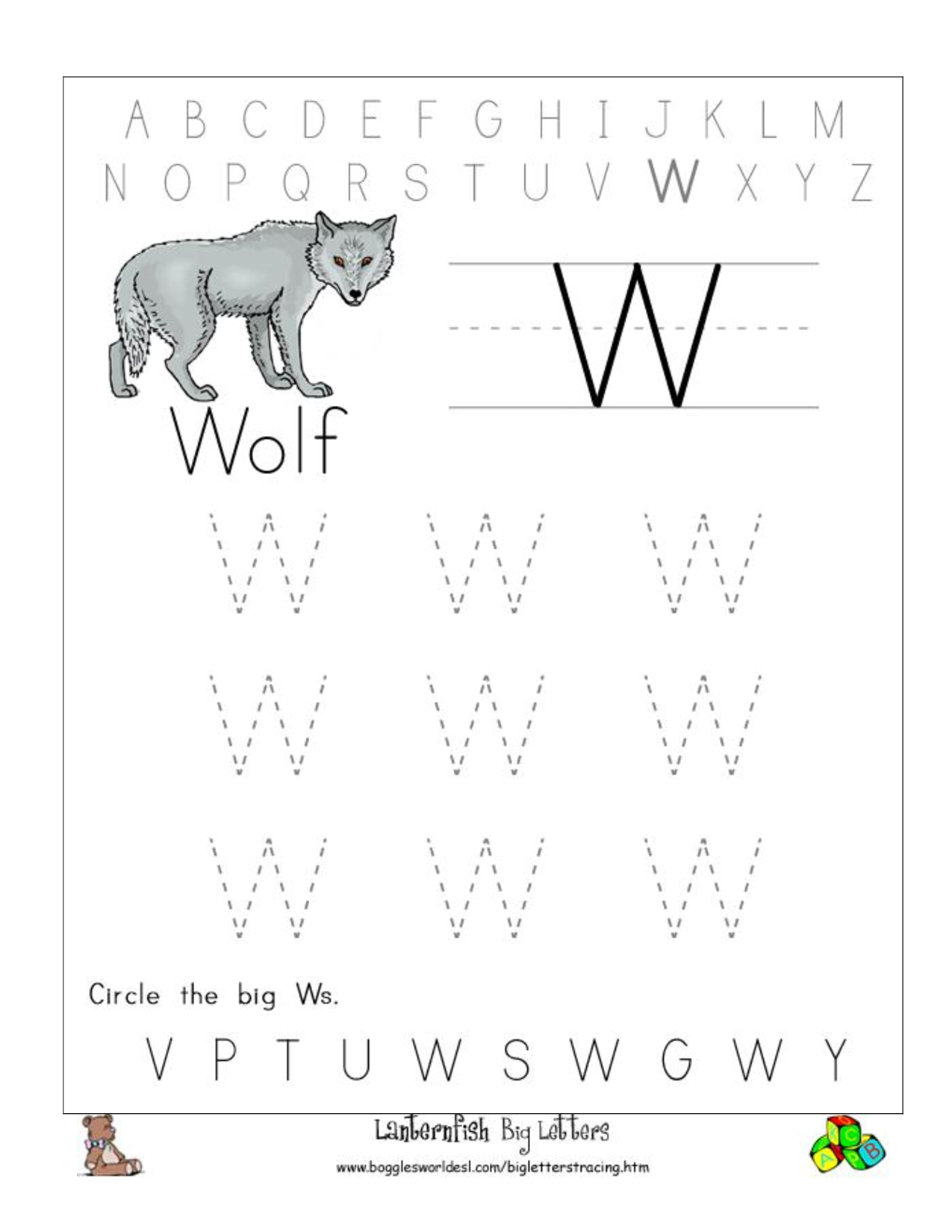Letter w coloring pages preschool - Big W Tracing Worksheet Doc Tracing Worksheetspreschool