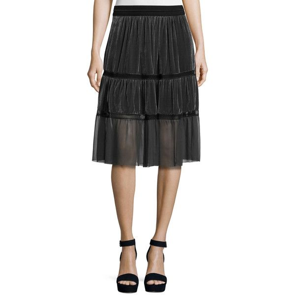 Elie Tahari Audra Tiered Velvet Skirt ($368) ❤ liked on Polyvore featuring skirts, grey, grey a line skirt, elie tahari, flounce hem skirt, elastic skirt and gray a line skirt