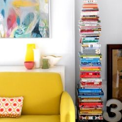 Stacked bookshelves with their tiny footprint are perfect for apartment dwellers. Turn your books into a sculpture.