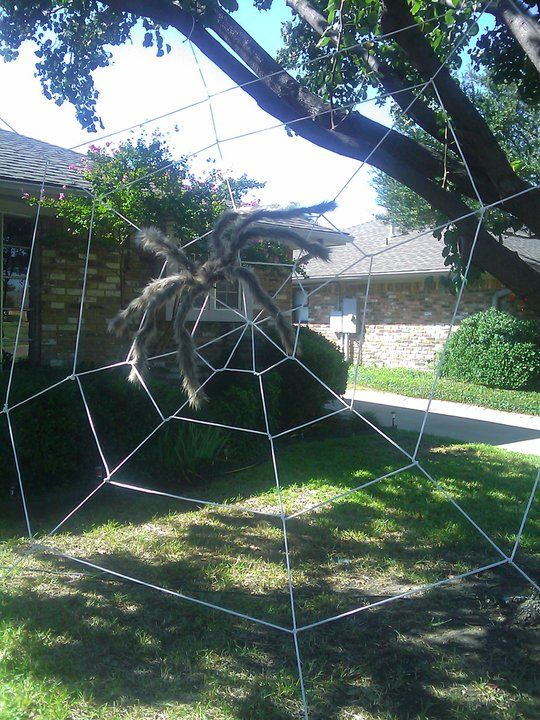 Do It Yourself Giant Spider Web Using Clothesline Rope Easier