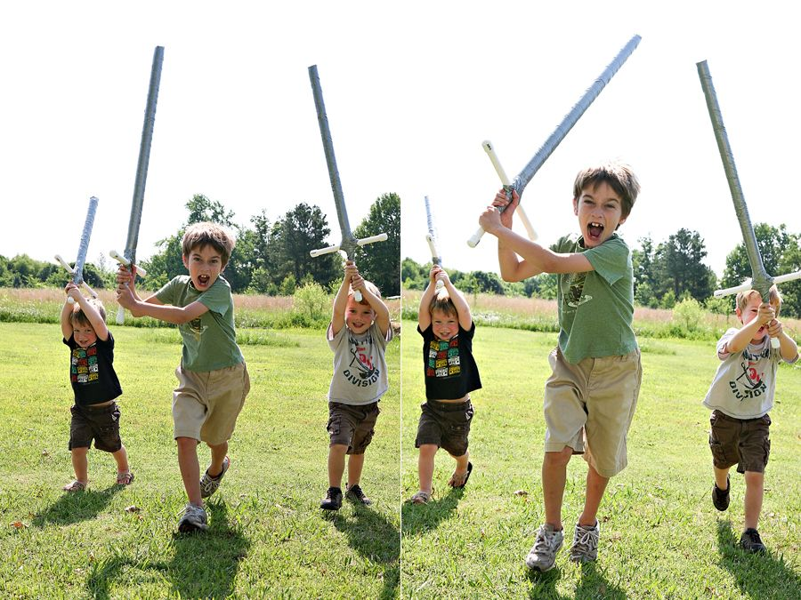 DIY PVC foam swords- these would be great for a knight bday party- esp with colored duct tape