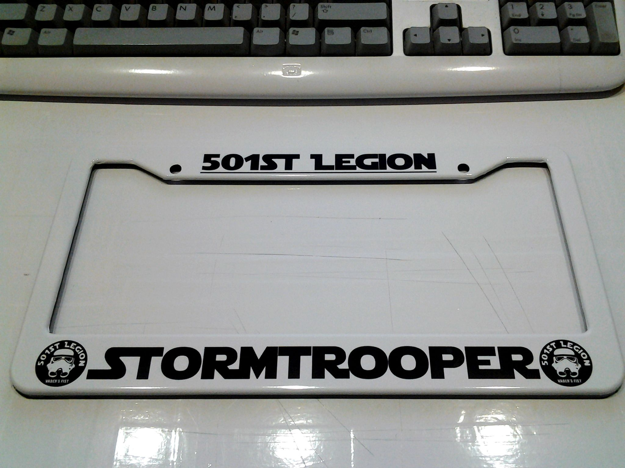 501st legion plate frame in all white