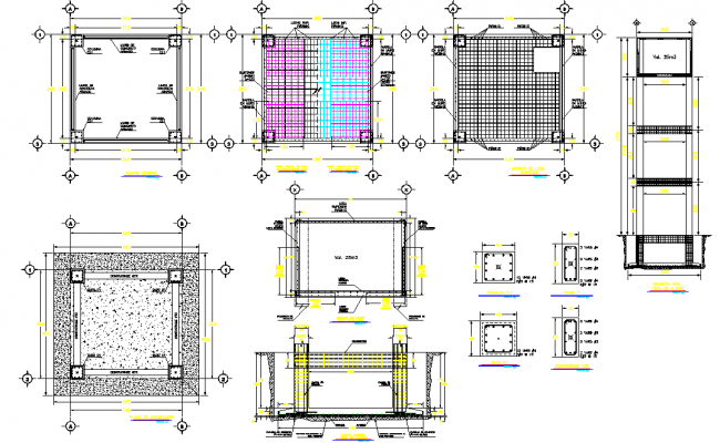 Design elevated tank 25m3 dwg file, centre line plan detail