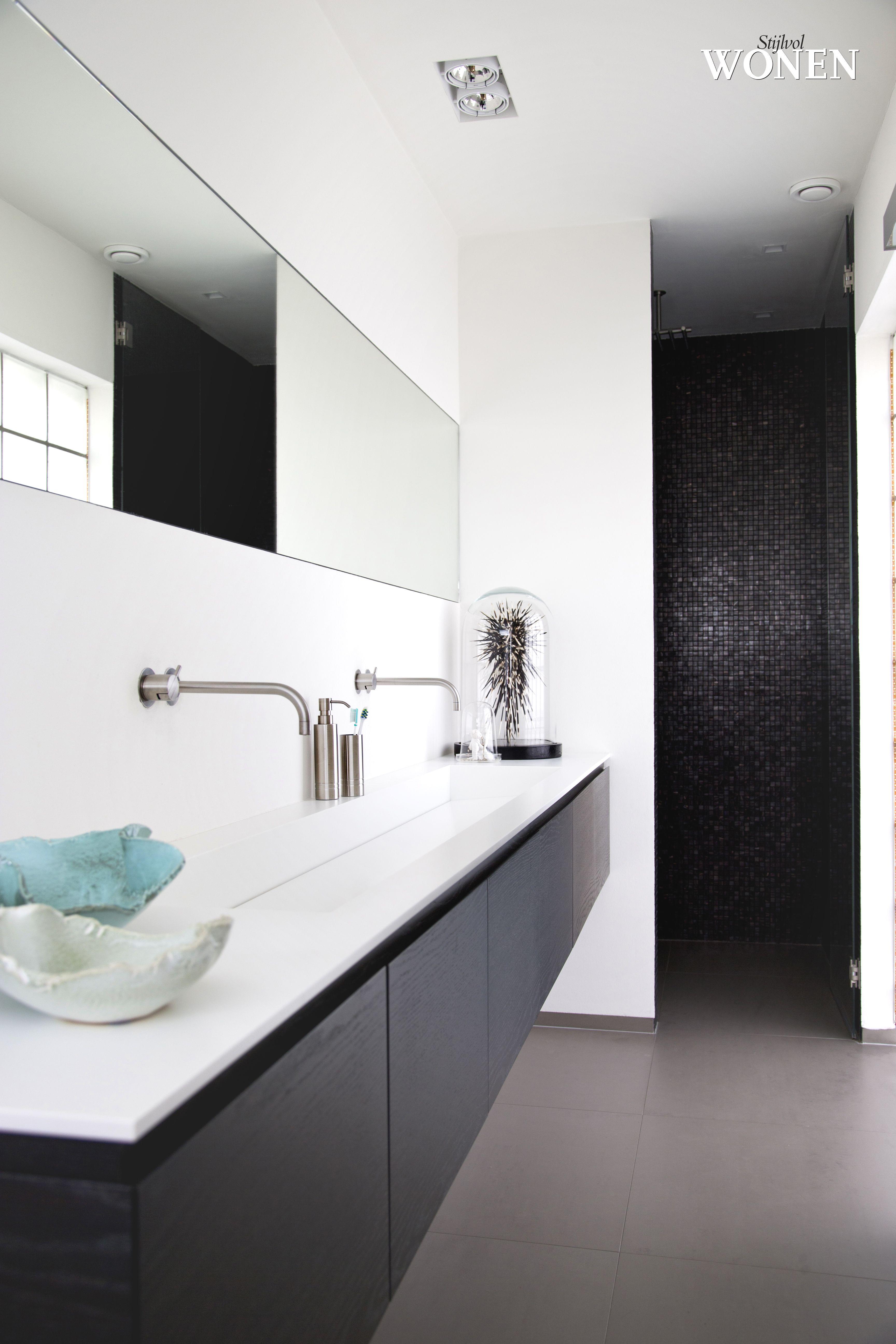 rustige badakmerindeling met inloopdouche badkamer pinterest