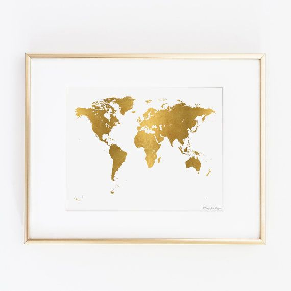 World map print world map poster digital art map print gold gold world map digital printable art instant door pennyjanedesign gumiabroncs Choice Image