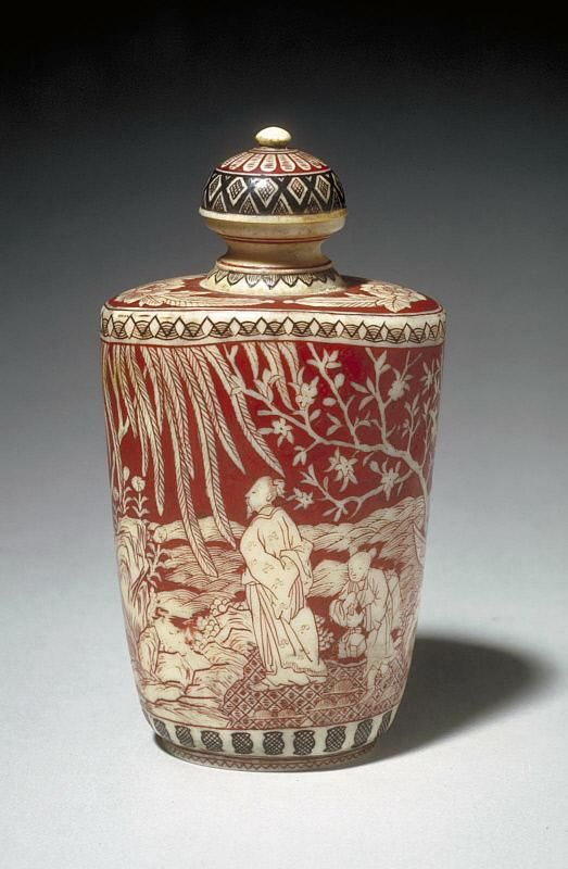 Snuff bottle with figures in a landscape from Asian Art Museum Online Collection