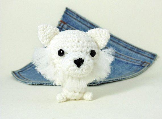 Amigurumi White Pomeranian crochet Pomeranian. Cute by Owlystore