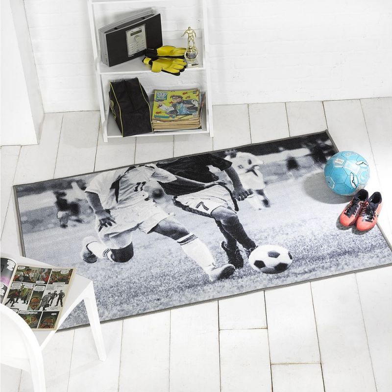 Tapis gris football match flair rugs c