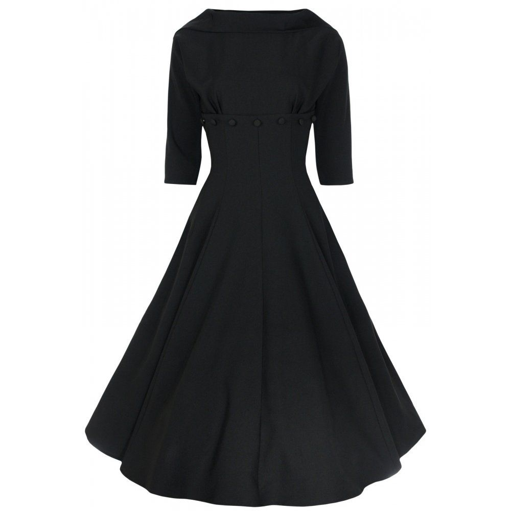 'MARLA' JACKIE O STYLE VINTAGE 1950's 1960's 3/4 SLEEVE BOAT NECK DRESS
