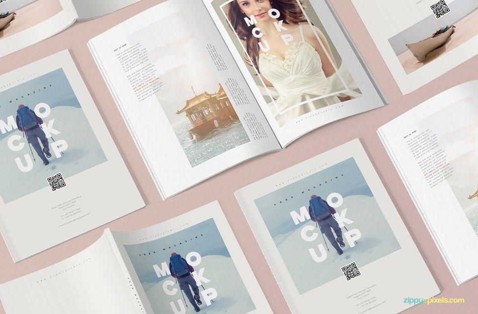A beautiful set of 3 free realistic magazine mockup
