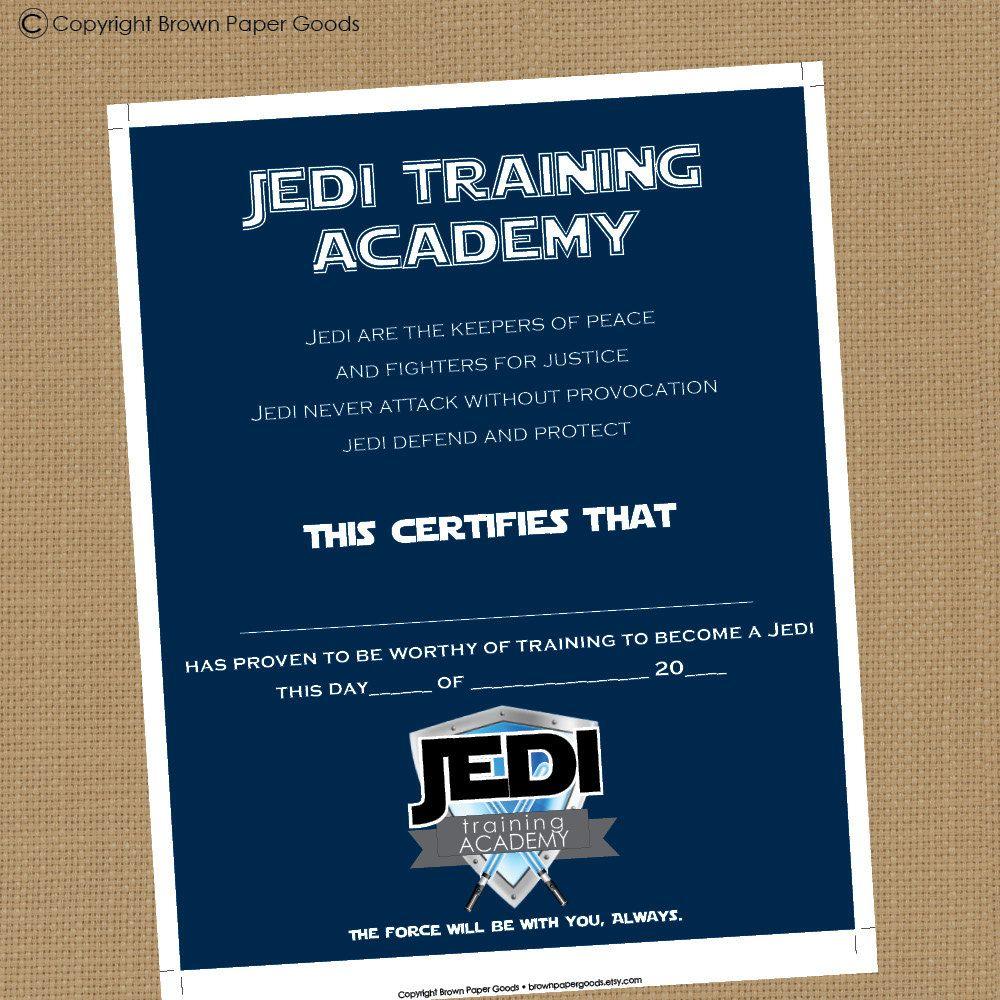 Jedi training academy certificate printable certificate 550 jedi training academy certificate printable certificate 550 via etsy star wars alramifo Images