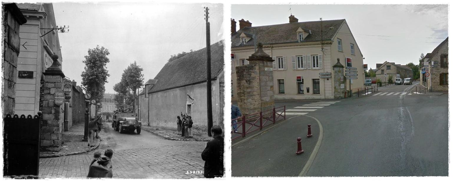 La Photo Est Prise A L Octroi De La Porte De Chartres A Dourdan Des Civils Saluent Le Passage D Un Vehicule Us Half Track M3 Du 38th Ar Photo World War World