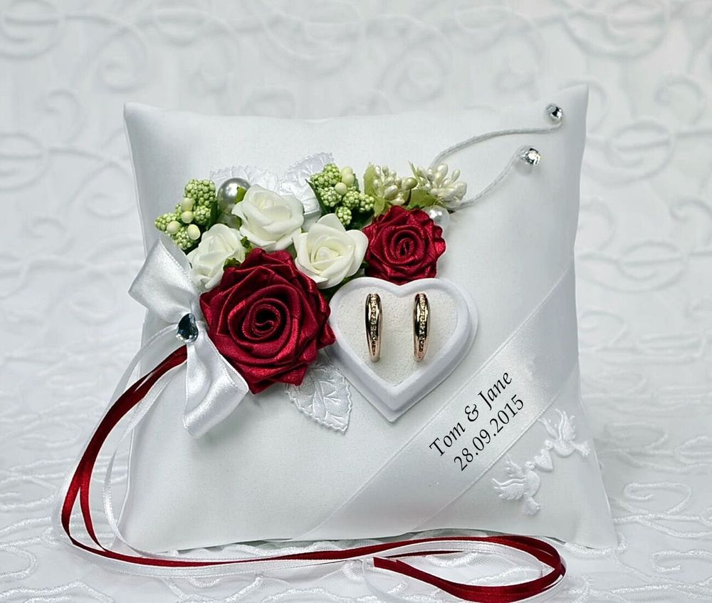 Personalized wedding ring cushion pillow with rings holder box 30