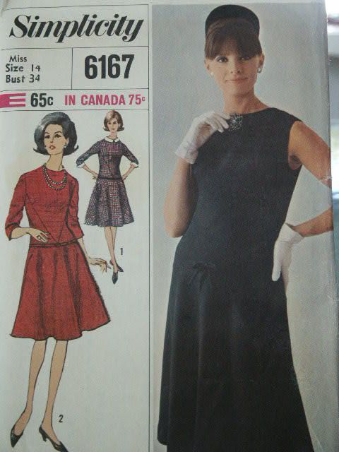 UNGESCHNITTENE Jahrgang 1965 MOD Ära Designermode Dress abnehmbaren ...
