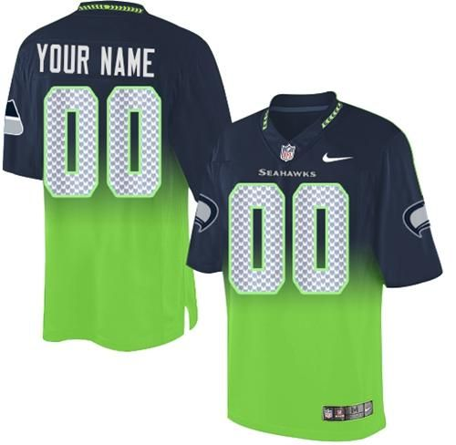 Nike Seattle Seahawks Customized Steel Blue Green Men s Stitched Elite  Fadeaway Fashion NFL Jersey eb1cac12a
