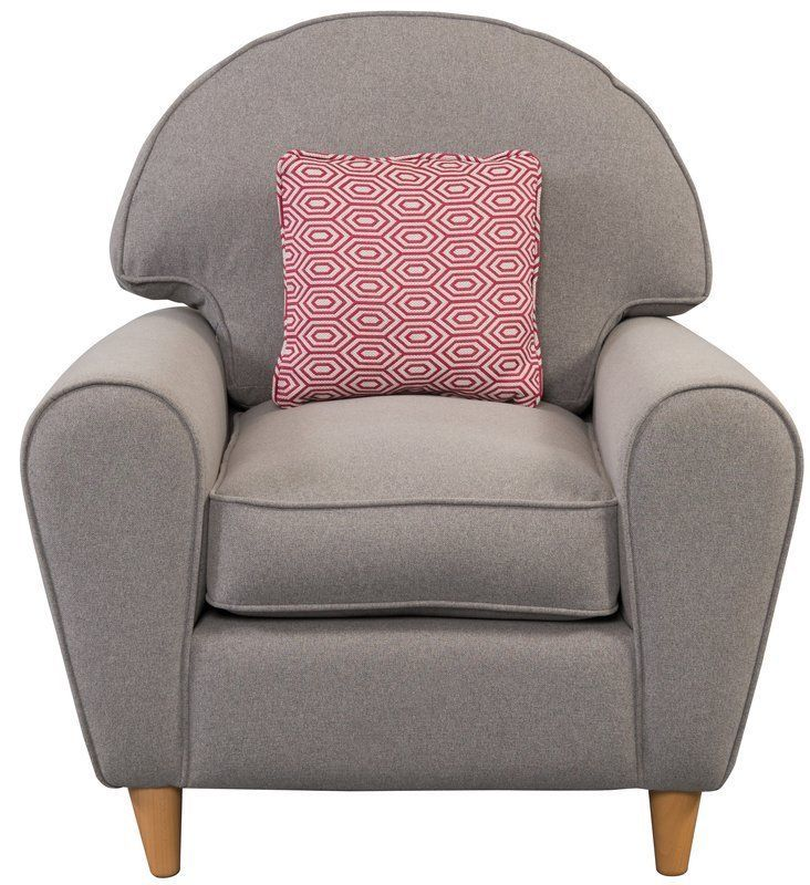 Grey Color Armchair Solid Wood Frame Cushioned Seat Living