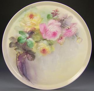 """Breathtaking LARGE 16"""" ROMANTIC TEA ROSES Antique Limoges French Hand Painted Victorian Canvas Art Plaque Tray Charger Tressemann and Vogt T circa 1900"""