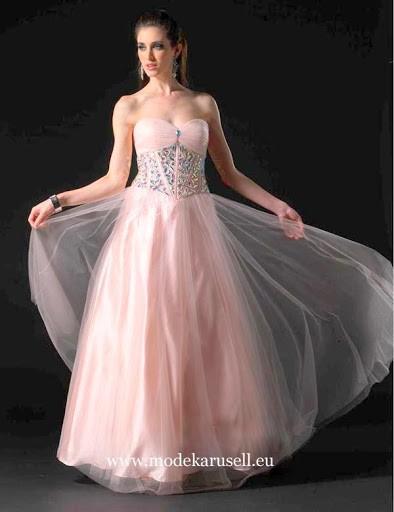 Rosa Abendkleid Lang mit Tüll | Abendkleid rosa ...