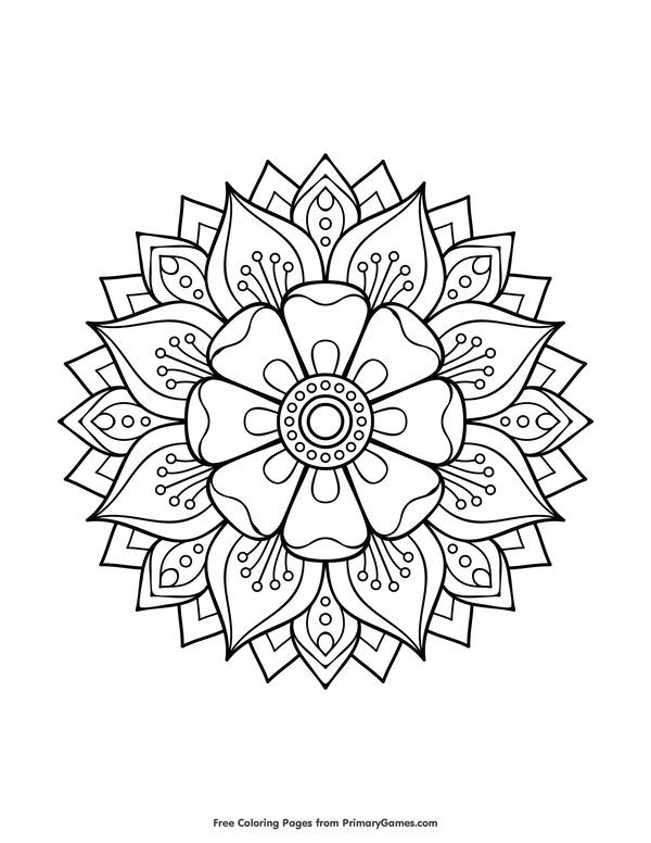 Free Printable Mandalas Coloring Pages EBook For Use In Your Classroom Or Home From PrimaryGames