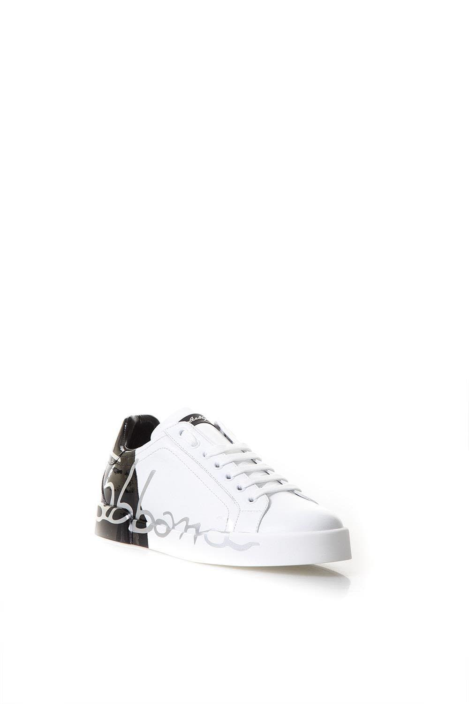 Dolce & Gabbana Sneakest En Cuir Blanc Avec Le Logo Vernis df6l8yv